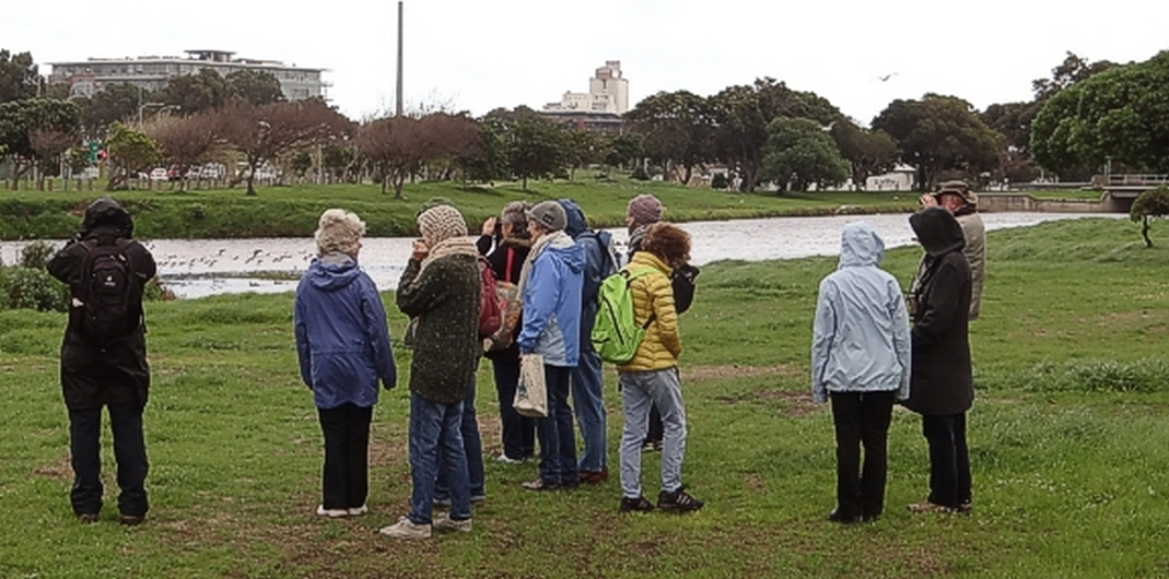 Our group over looking the Liesbeek River berm section of the Park. Photograph by Otto Schmidt