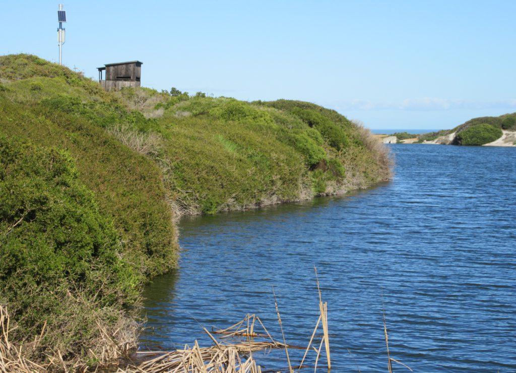 Bird hide at fresh water dam