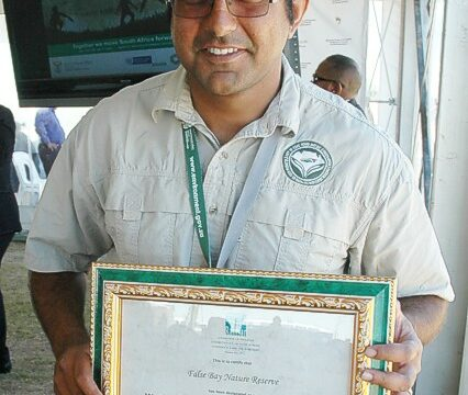 Asieff Khan Manager of the False Bay Nature Reserve with the official certificate feb 2015 gavin lawson