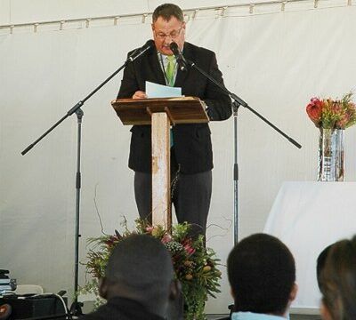 Councillor Johan van der Merwe, Mayoral Committee Member for Energy, Environment and Spatial Planning delivering his speech feb 2015 gavin lawson