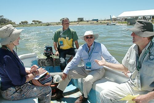 I was lucky to get a lift across Zeekoevlei to the Nature Reserve headquarters in Richards boat along with Karen Watkins Jimmy Baigrie and Dalton Gibbs feb 2015 gavin lawson