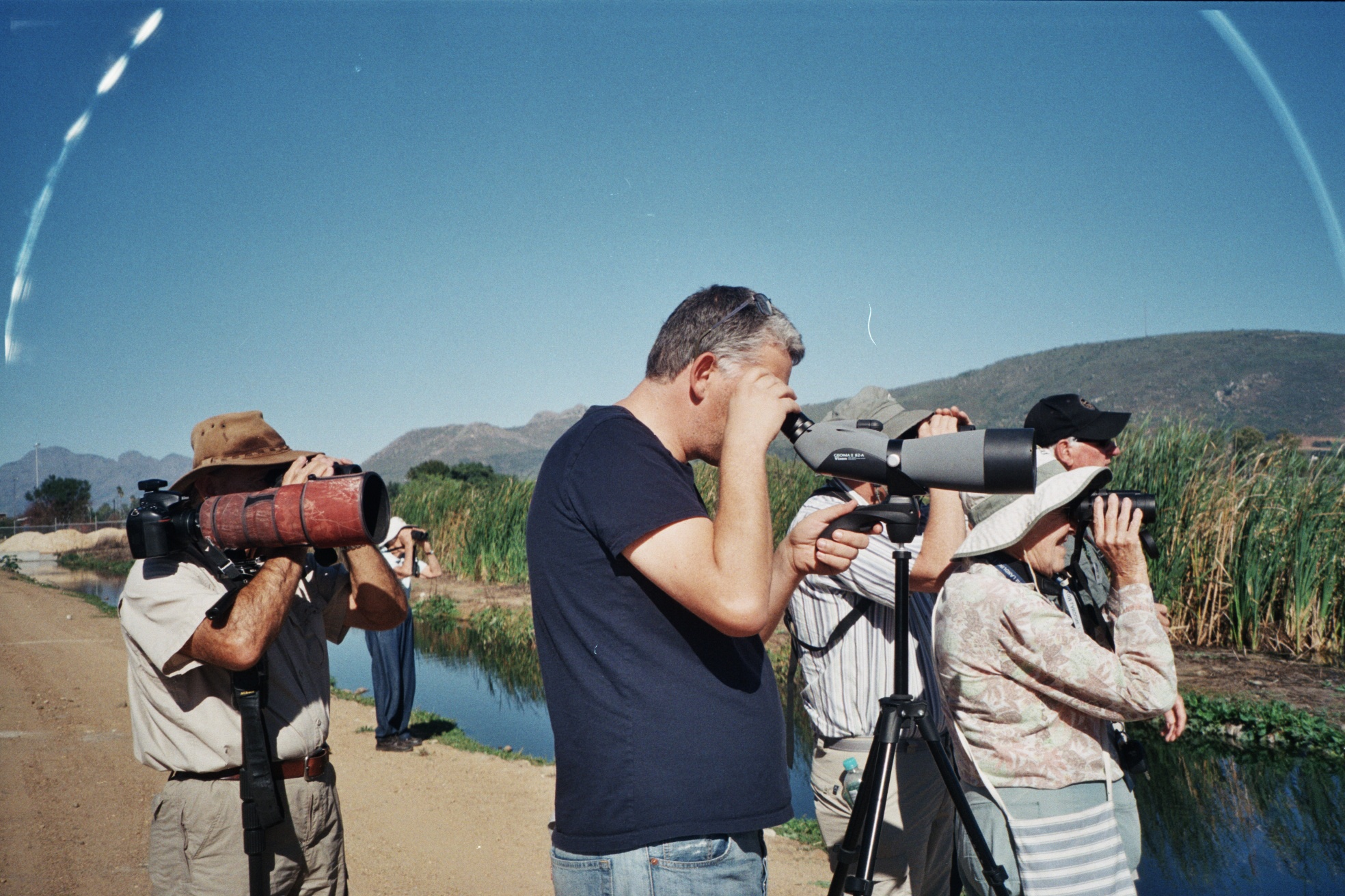 Paarl Bird Sanctuary outing. Looking at a Black Duck. Photograph by Penny Dichmont
