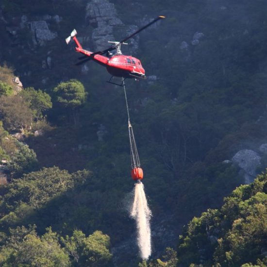 Waterbombing the fire. Kirstenbosch. Photograph by Graham Pringle