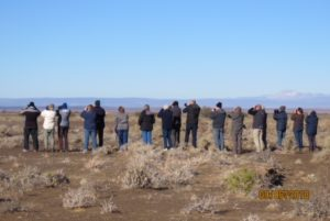 Watching Tractrac Chats. Tankwa Karoo. Photograph by Duke Metcalf. Note the snow on the mountains!